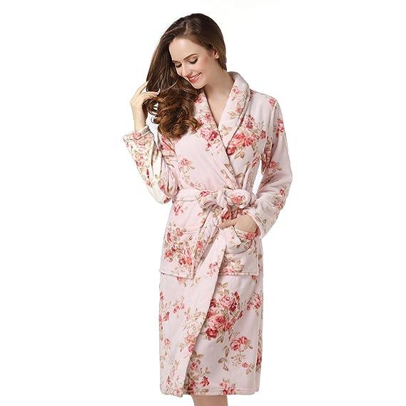 温暖舒适!女式抓绒浴袍只要$23.99! (20花色)