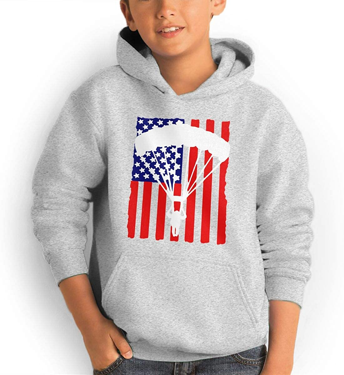 Red Coffee Teen Fashion Hoodie Hooded Sweatshirt Pocket Youth Boys Girls Sweaters,American Parachuting Skydiving USA Flag