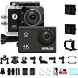 WiMiUS Action Camera 4K Video 16MP 40M Underwater Cameras Sports Camcorder WiFi Bike Helmet Cam 2.0'' LCD Screen 170° Wide Angle Dual Rechargeable Batteries Waterproof Case and Kit of Accessories, Q1
