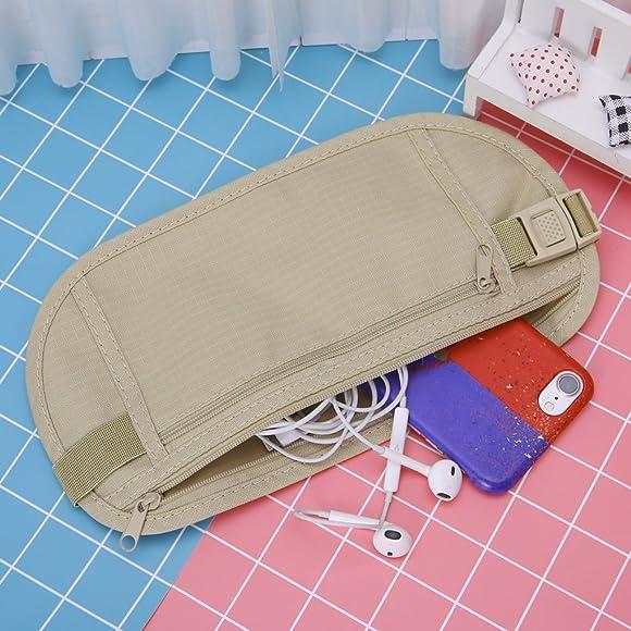 Afco Durable Lightweight Travel Pouch Hidden Compact Security Money Waist Bag Khaki