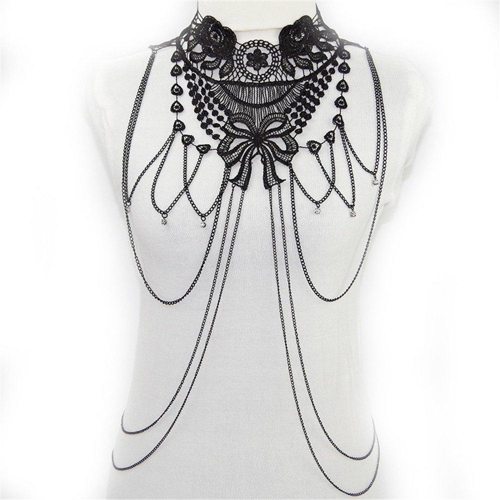 SIYWINA Multi-tassel Necklace Body Chain Flower Lace Fine Chain Body Chain Bikini Summer
