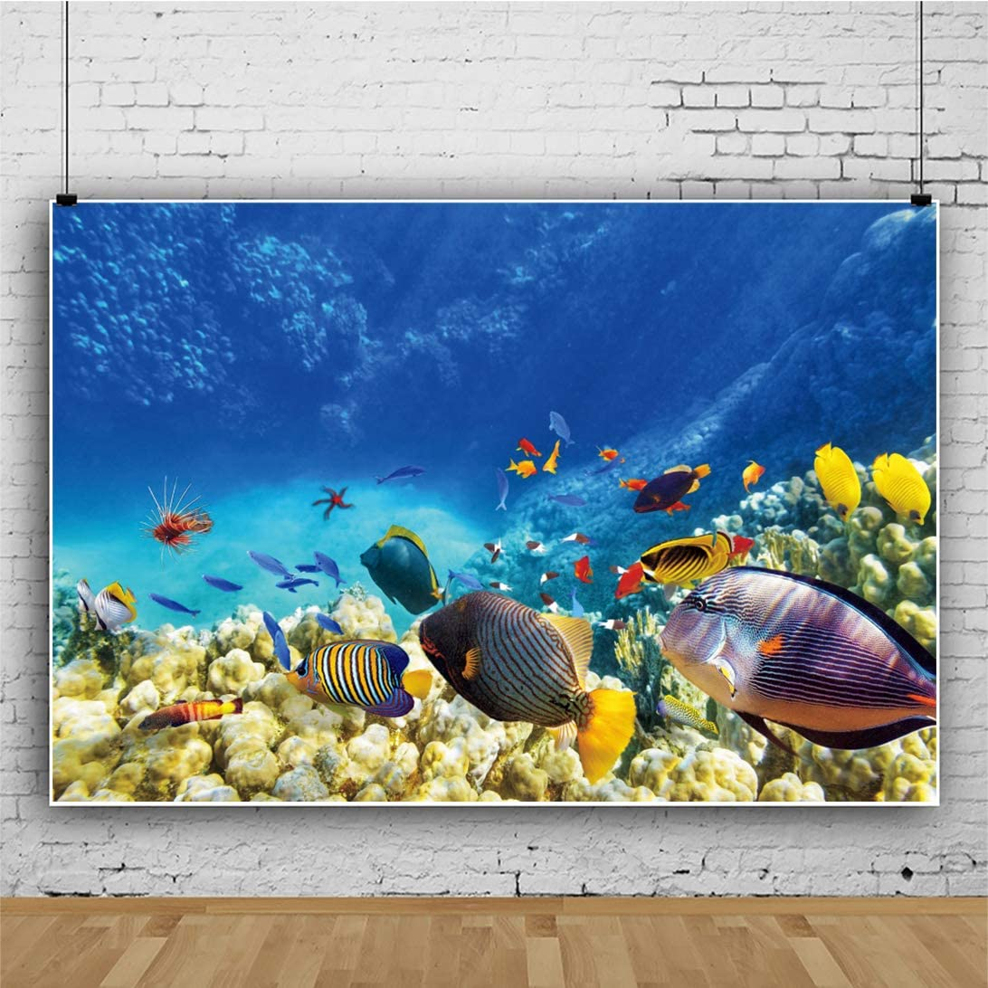 YEELE 12x8ft Tropical Fish Backdrop Underwater World with Corals Photography Background Aquarium Event Decoration Under The Sea Theme Birthday Cake Smash Banner Photo Studio Props Wallpaper