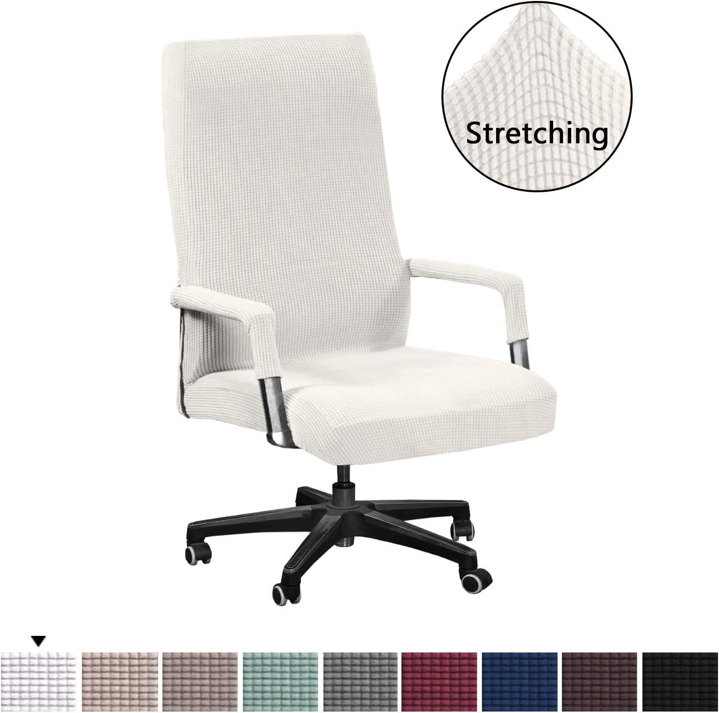 Stretch Computer Office Chair Covers for Stretch Rotating Mid Back Chair Slipcovers Cover Skid Resistance Furniture Protector Jacquard Spandex Form Fitted Slipcovers, Standard, Ivory White