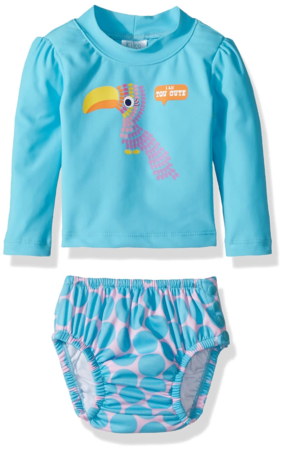 KIKO /& MAX Girls Baby Rashguard and Diaper Cover Swim Set