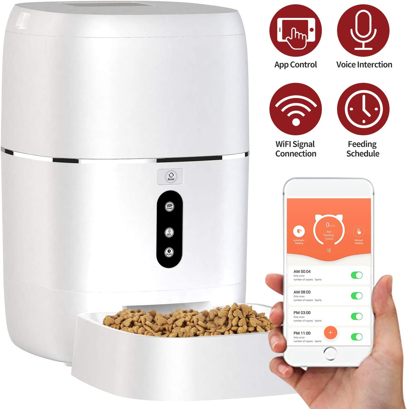 AIIYME Food Dispenser Dog Cat Feeder, Wi-Fi Enabled APP with Voice Recorder for iOS and Android, Programmable Timer for up to 6 Meals per Day 6L Food Capacity, Dual Power Mode