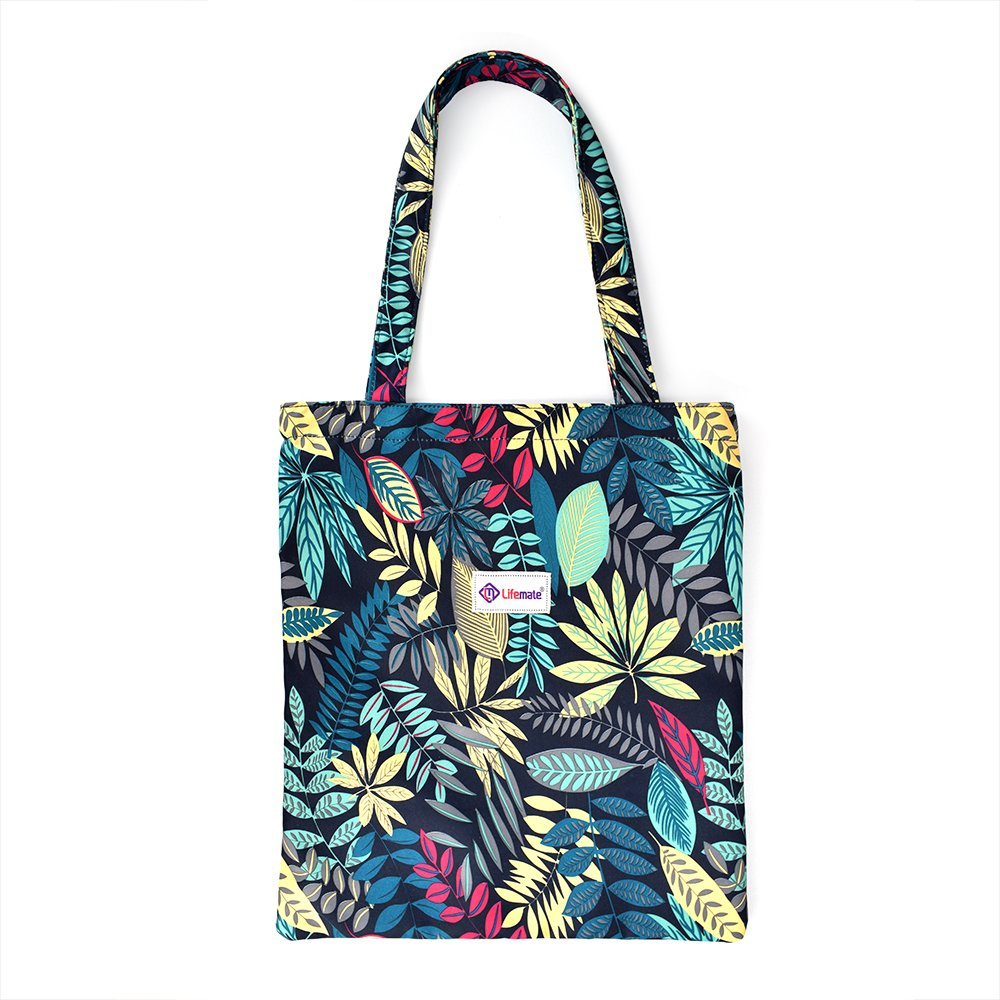 LIFEMATE Floral Tote Bags Waterproof Tote Shoulder Handbag for Girls' Shopping Travel Outdoor (Floral Blue)