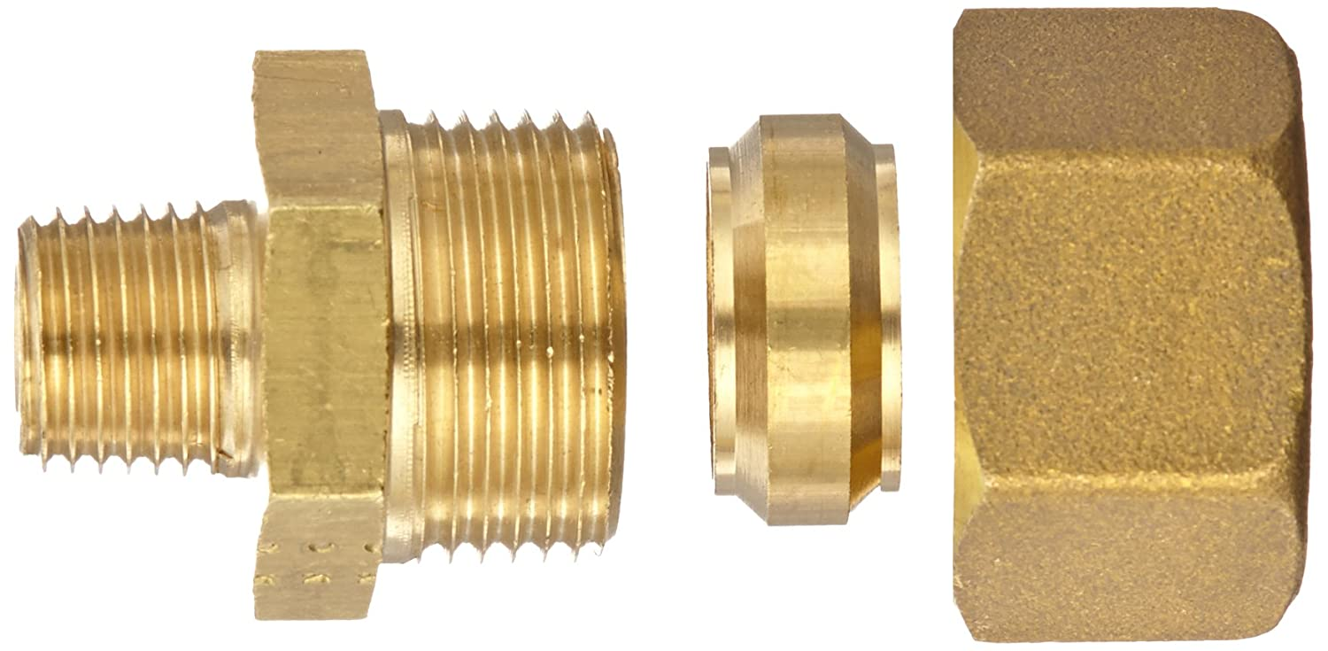 Connector 6 mm Tube OD x 3//8 BSPT Male Legris 0105 06 17 Brass Compression Tube Fitting