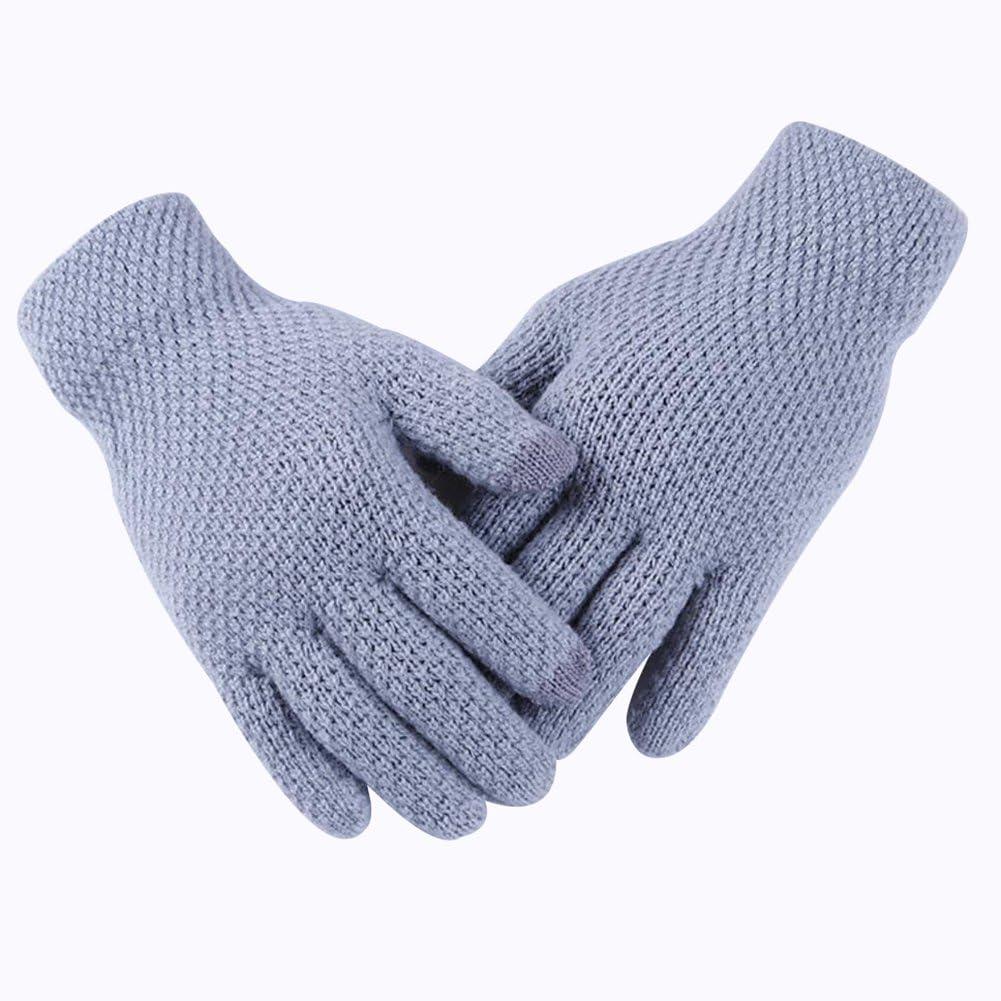 Kentop Guantes de Invierno Mujer cálida Guantes de algodón Guantes Guantes de Punto Touch Gloves Smartphone Pantalla Táctil Guantes, Peluche, Azul, Medium: Amazon.es: Hogar