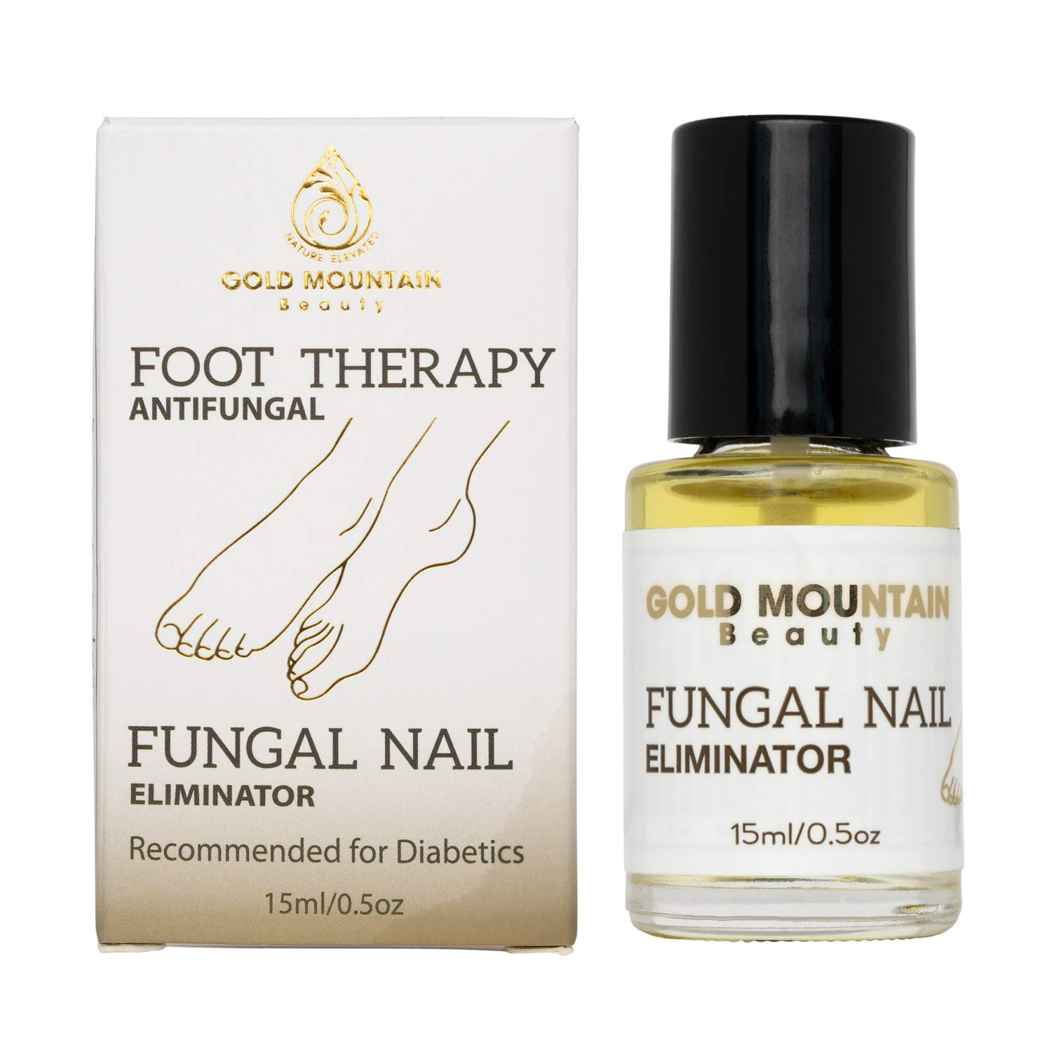 Gold Mountain Beauty Fungal Nail Eliminator with Tolnaftate and Puredia SeaBerry, Foot Therapy Antifungal Treatment for toenail Fungus formulated by a Physician, Brush On Oil, 0.5oz Bottle by Gold Mountain Beauty