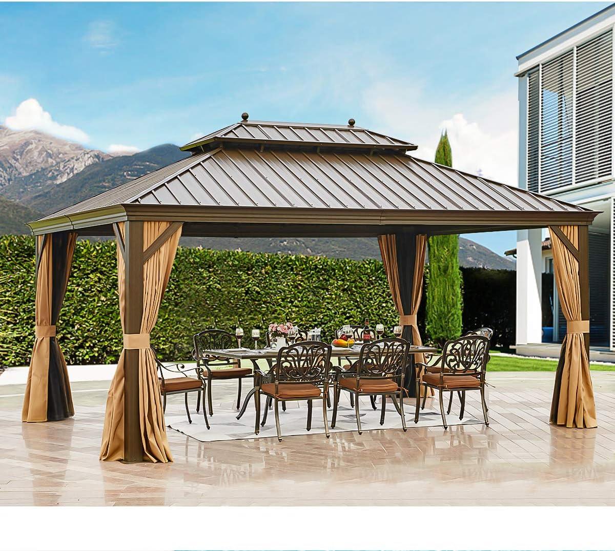 EROMMY - Gazebo de acero galvanizado para exteriores con doble ventilación y marco de aluminio con red y cortinas para jardín, patio, césped, fiestas