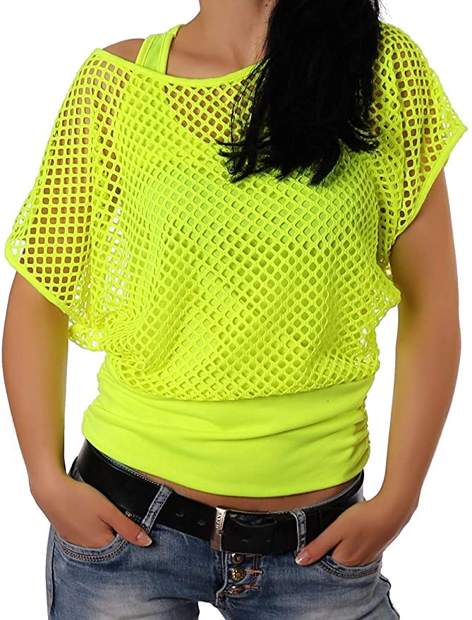 80s Costumes, Outfit Ideas- Girls and Guys Smile Fish Women Casual Sexy 80s Costumes Fishnet Neon Off Shoulder T-Shirt $21.99 AT vintagedancer.com