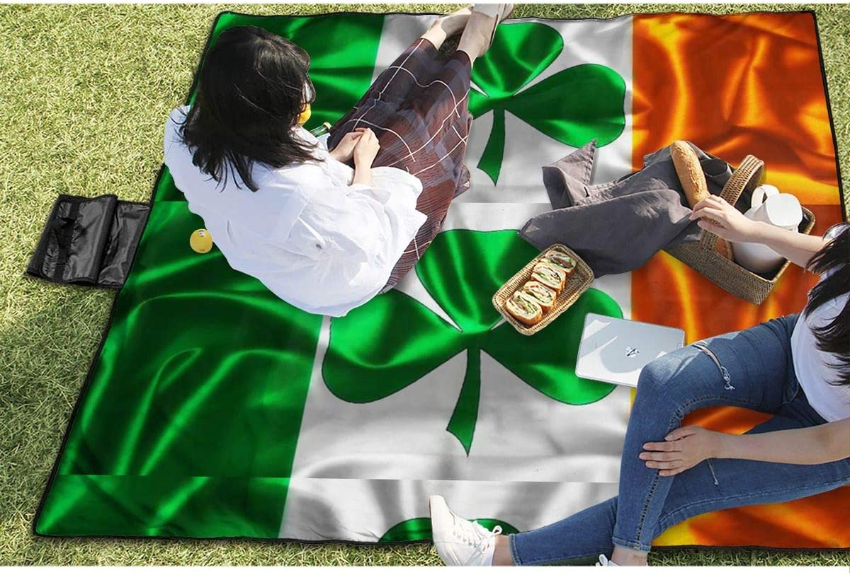 Beach Picnic Blanket Irish Flag Water Resistant Extra Large Outdoor Handy Mat Sand Free Camping Travelling Accessories Soft Family Tote On Grass RV Quick Dry Bag
