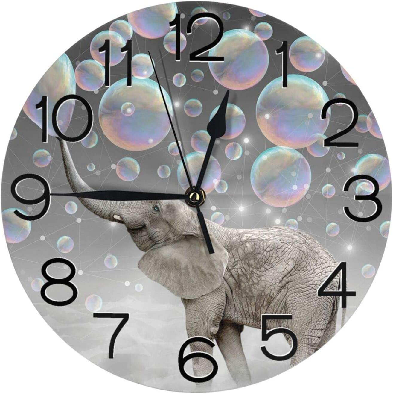 Stylish 3D Elephant with Bubble Round Wall Clock Battery Operated Quartz Analog Quiet Home Kitchen Decor Wall Clocks(9.5 Inch)