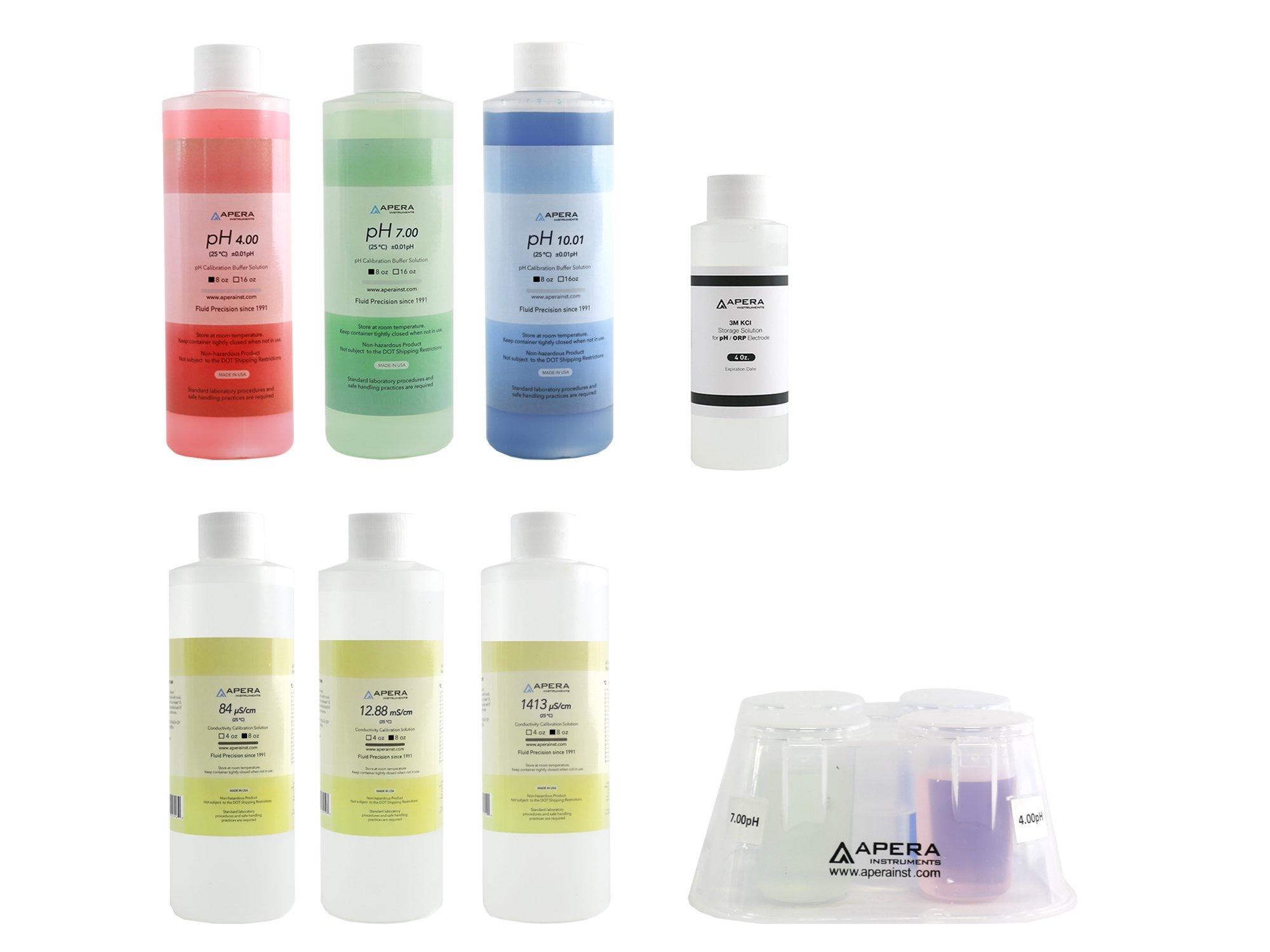 8oz. pH/EC Calibration Solution Kit (pH 7.00, 4.00, 10.01, 1413 µS, 12.88 mS, 84 µS), plus Storage Solution & CalBox