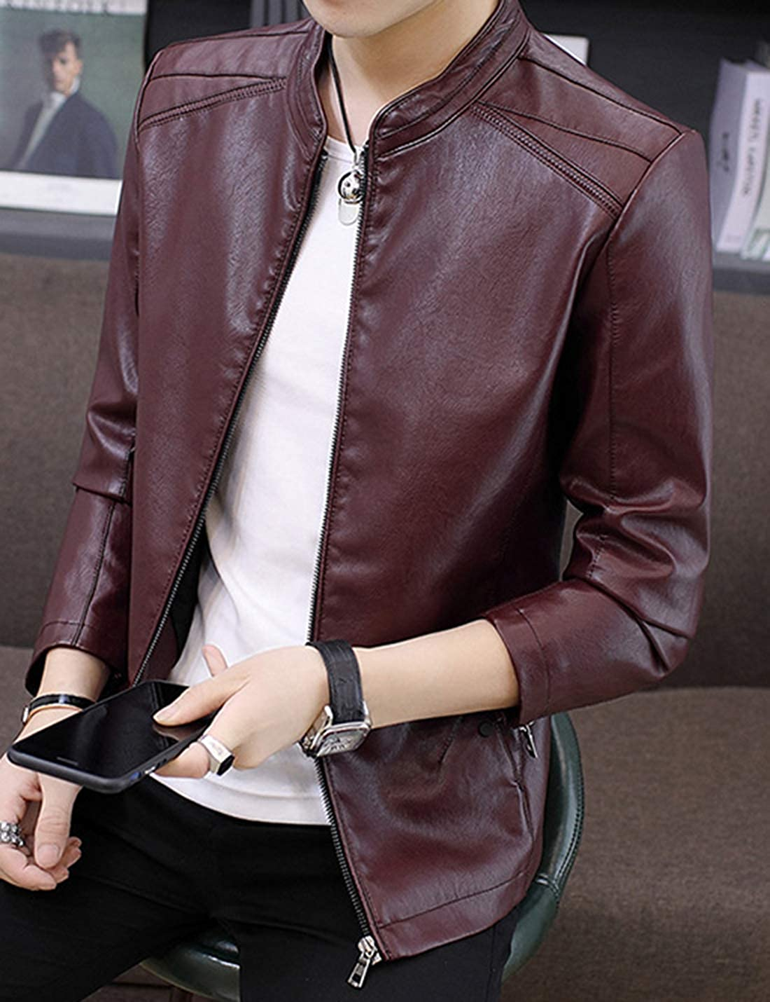 Springrain Mens Classic Stand Collar Faux Leather Motorcycle Bomber Jacket