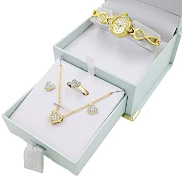 Amazon Com Gold Heart Watch Jewelry Gift Set For Her Necklace