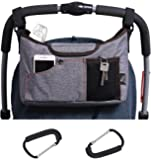 Olivias Stroller Bag Set –Universal Fit Durable Multi Pocket Stroller Organizer Bag and 2 Stroller Carry Hooks - Stroller Accessory Set