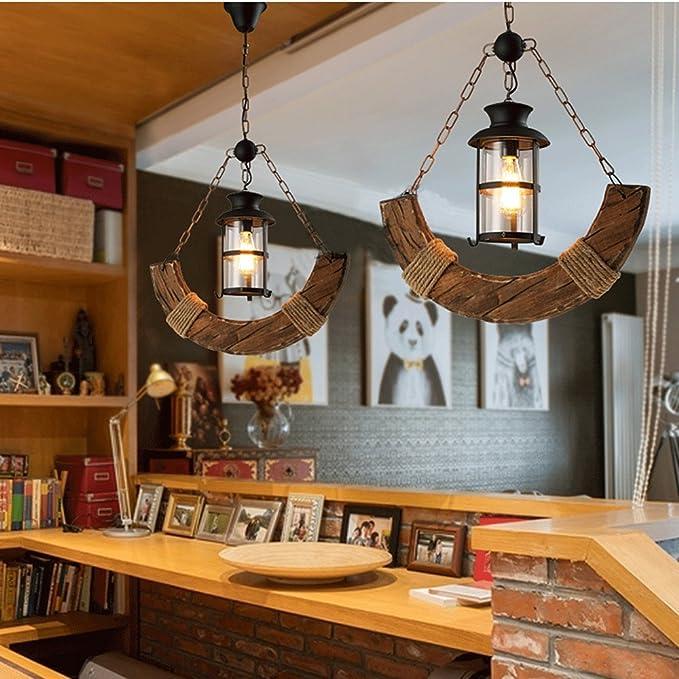 Nordic Barco araña Retro Totem Colgante Techo Leuchten restaurante Librería Luz umgebungs Luz, E27 (No Incluidas): Amazon.es: Iluminación