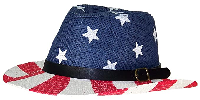 a14e3174e1b Image Unavailable. Image not available for. Color  Tropic Hats Little Kids  Patriotic US Flag Straw ...