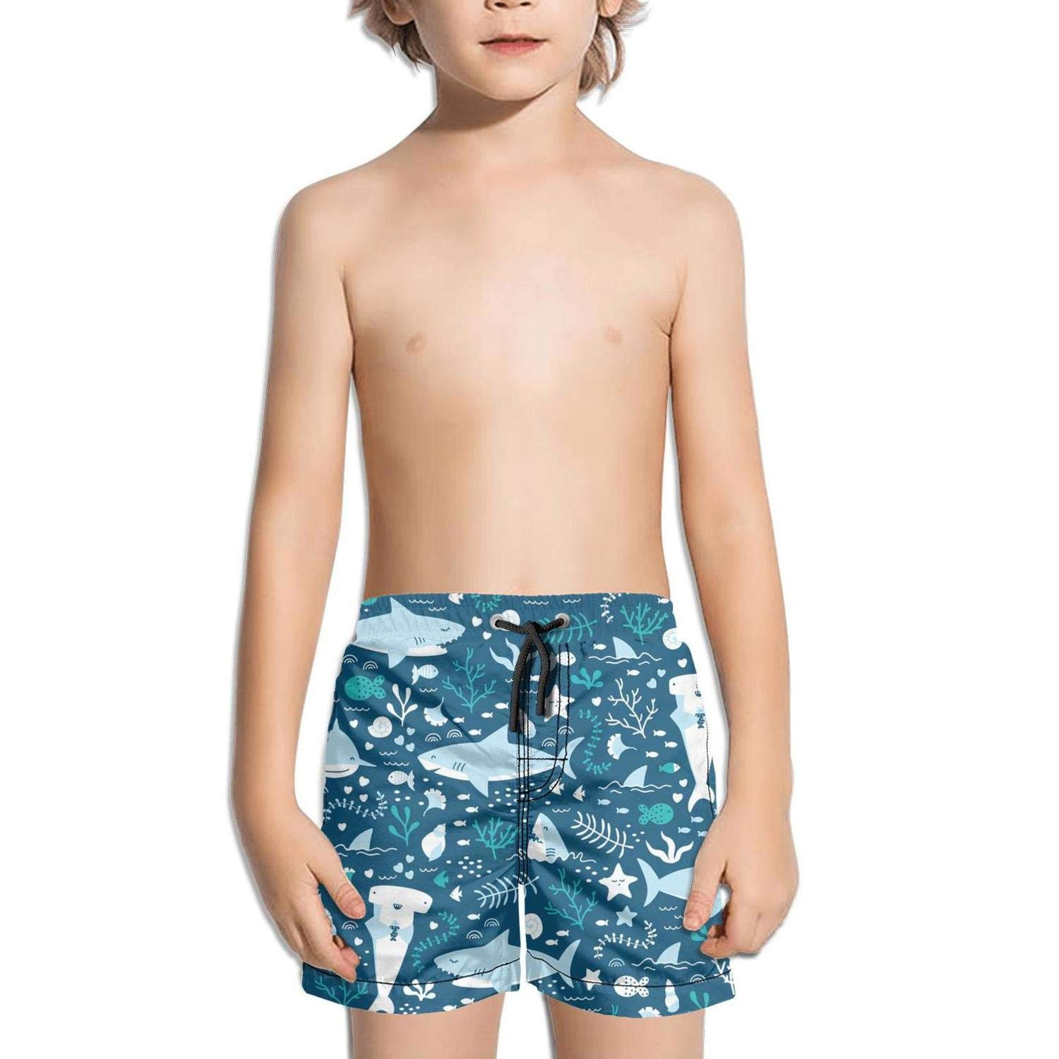 Boys Kids Happy Sharks by Modern Quick Dry Beach Swim Trunk Unique Swimsuit Beach Shorts with Pocket