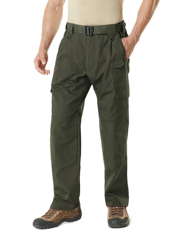 CQR CQ-TLP105-GRN_32W/34L Men's Tactical Pants Lightweight EDC Assault Cargo TLP105