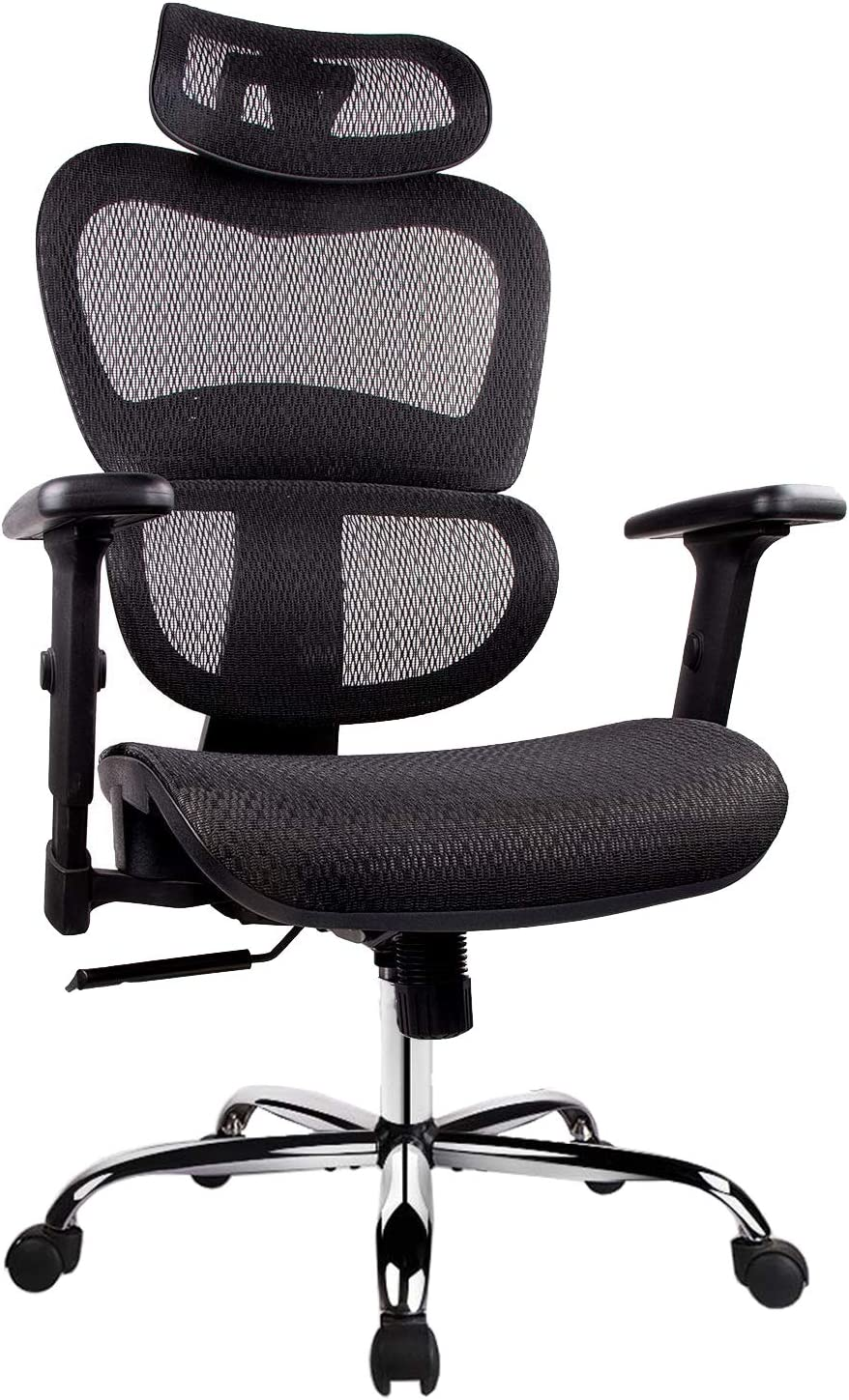 Office Chair, Ergonomics Mesh Chair Computer Chair Desk Chair High Back Chair w Adjustable Headrest and Armrest