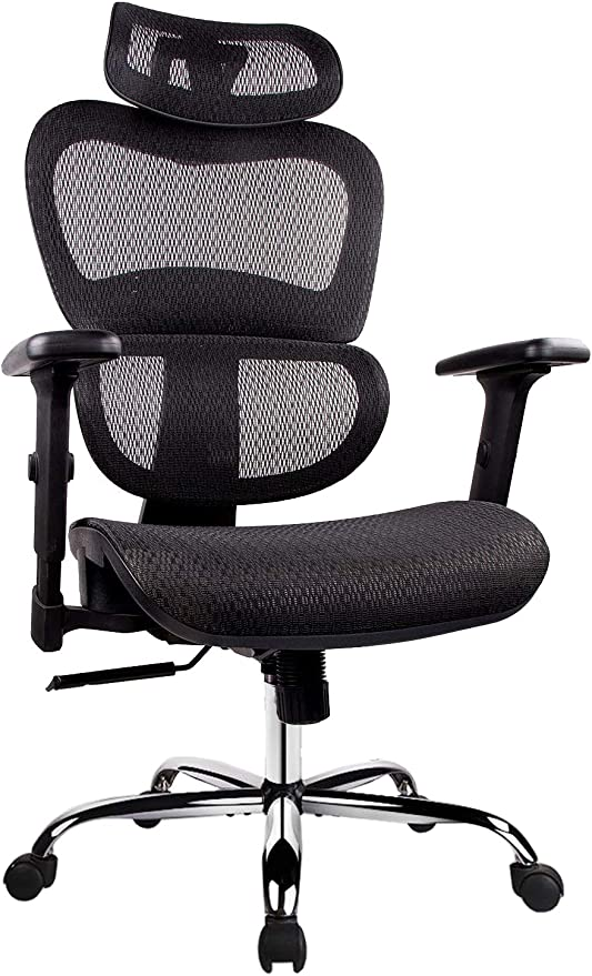 Amazon Com Office Chair Ergonomics Mesh Chair Computer Chair Desk Chair High Back Chair W Adjustable Headrest And Armrests Black Furniture Decor