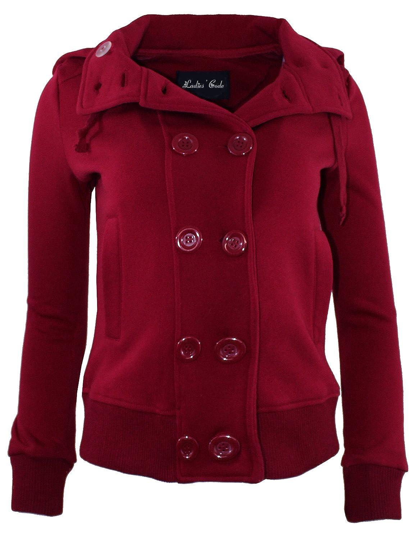 Ladies' Code Women's Detachable Hood Double Breasted Fleece Coat