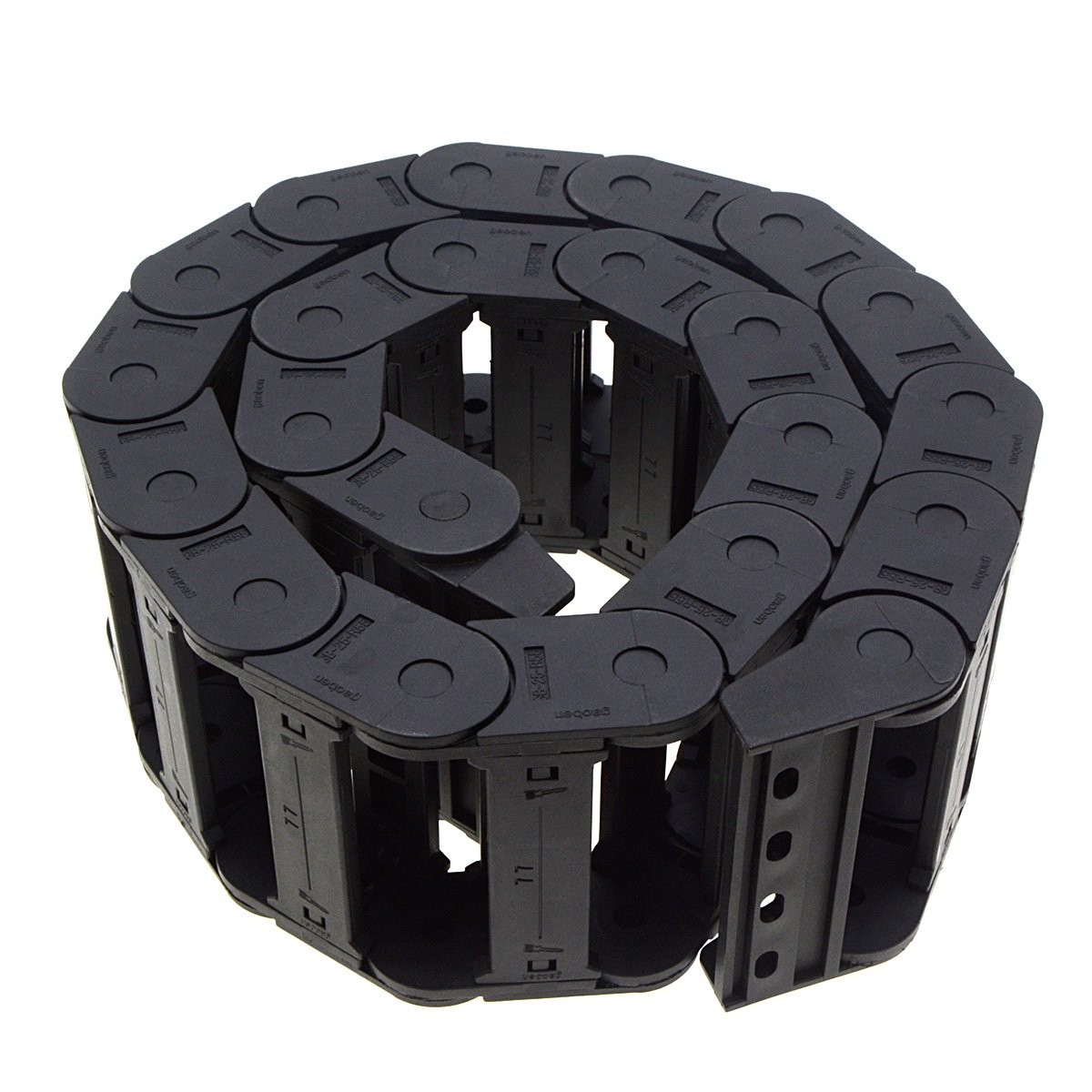 YXQ R55 Drag Chain 25x77mm 1M Flexible Nested Semi Closed Cable Wire Carrier Black Plastic for Electrical Machines by YXQ