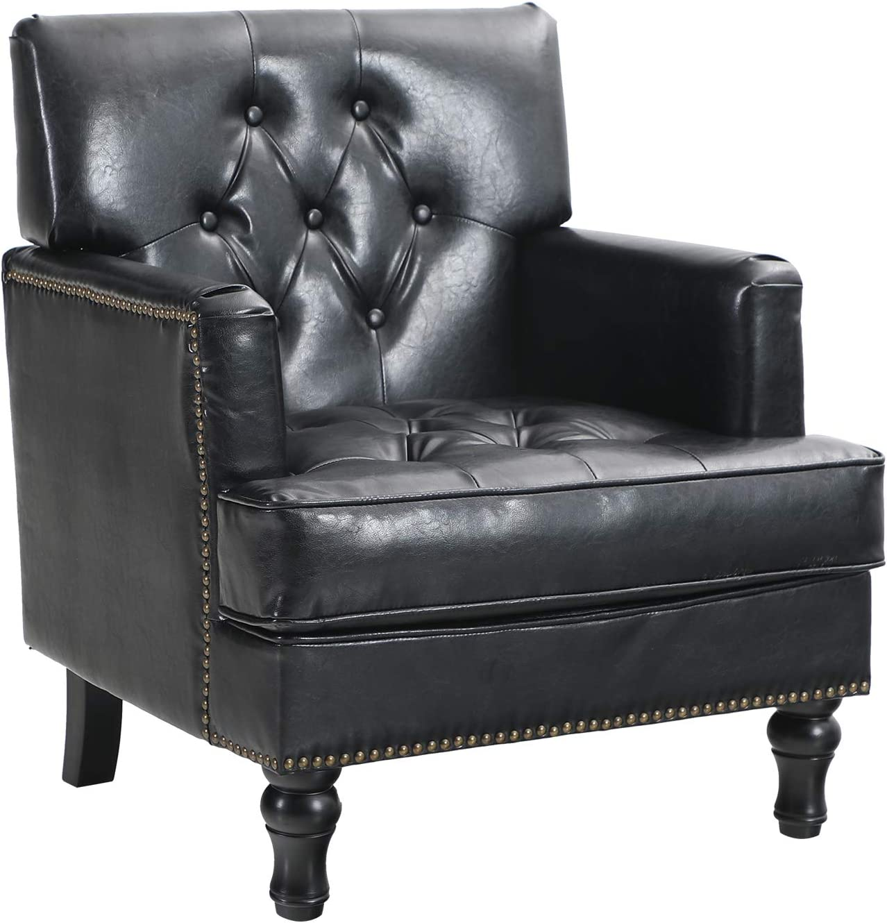Sophia & William Living Room Chair Mid Century Accent Sofa Chair Modern PU Leather Armchair Comfy Tufted Single Sofa Reading Chair Living Room, Office Couch Club Chair, Black