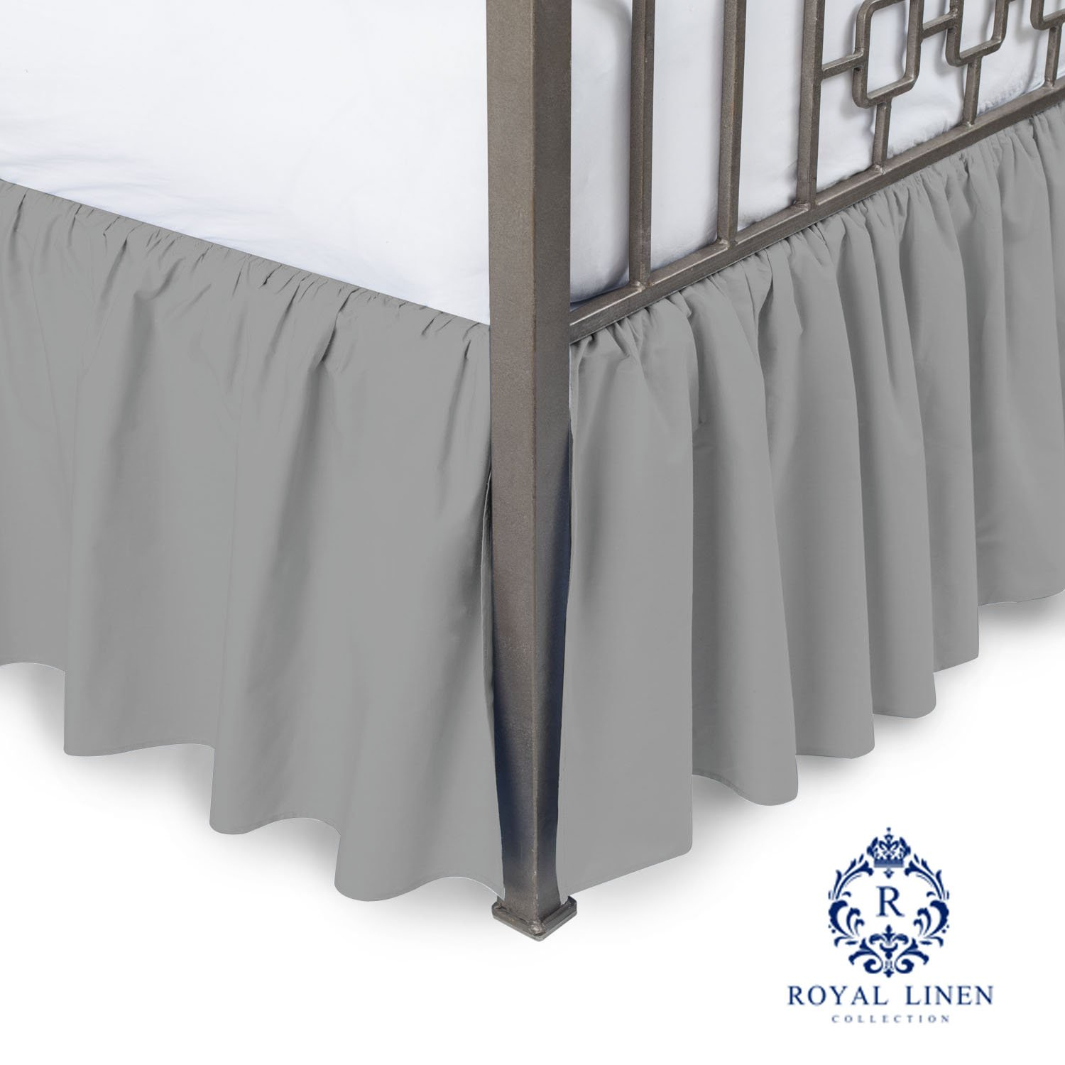 Royal Linen Collection Hotel Quality 800TC Pure Cotton Dust Ruffle Bed Skirt 12'' Drop length 100% Natural Cotton King Size Silver Grey Solid