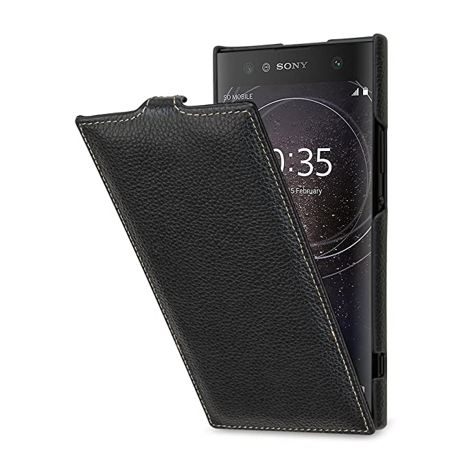 quality design 2ba27 bcd4f StilGut Case Compatible with Sony Xperia XA2 Ultra. Slim Vertical Leather  Flip Cover for Xperia XA2 Ultra, Black