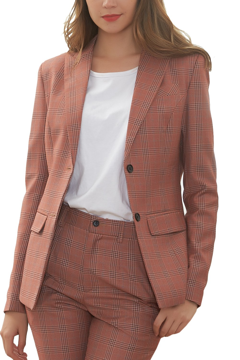 Hanayome Women's Suit Single Breasted Regular Fit Formal 2 PC Blazer Separate Pants MI1 (Cerise, 12)