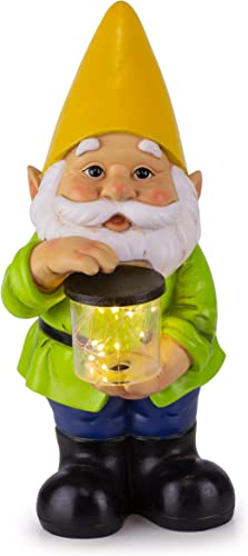 Gnome Solar Powered LED Outdoor Decor Garden Light, 6 W x 13 H Yellow Hat
