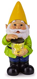 "Gnome Solar Garden Light, 6"" W x 13"" H (Yellow Hat)"