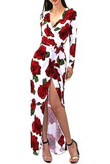 ee89e34fc Vivicastle Women's USA Sexy Long Sleeve Tulip Wrap Slit Front Full Long  Maxi Dress