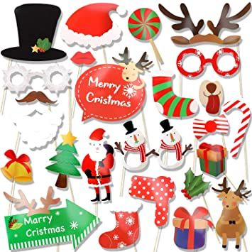HOWAF 25pcs Navidad photocall DIY Photo Booth Accesorios ...