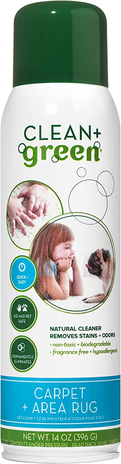 Clean+Green Natural Stain Remover and Odor Eliminator Solutions for Home -Safe for Kids, Pets, Adults- Made in the USA, 14 Ounce