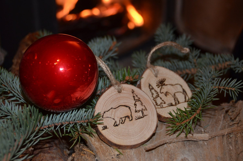Unique Christmas Ornaments.Amazon Com Moose And Bear Christmas Ornaments Wood Branch