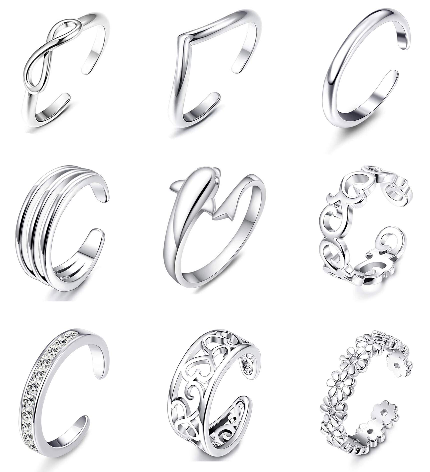 Meangel 9PCS Adjustable Toe Ring for Women Girls Open Tail Ring Flower Knot Simple Toe Ring Gifts Jewelry Set by Meangel