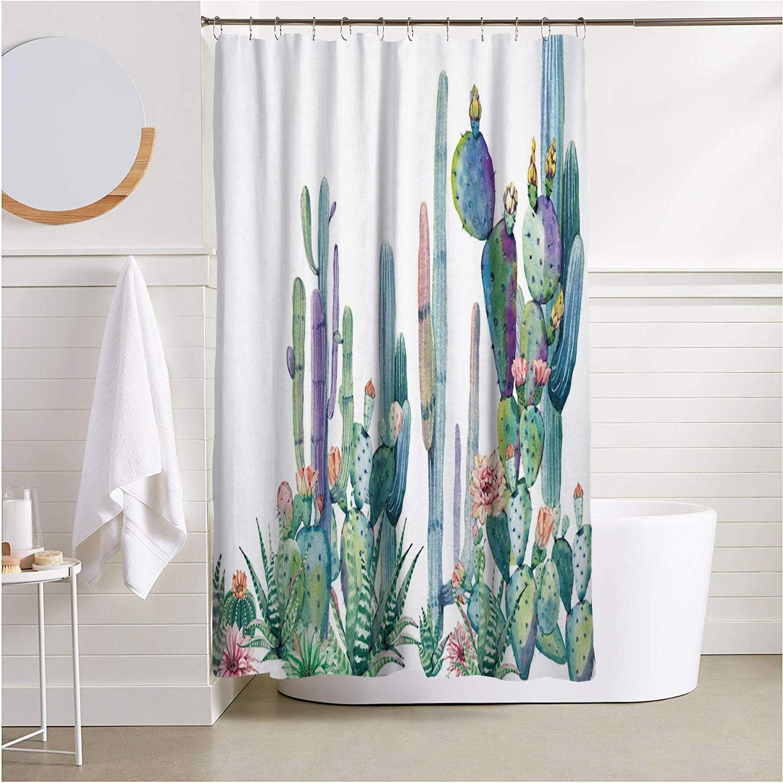 Huakz Tropical Cactus Flowers Shower Curtain Desert Succulent Plants Bathroom Decor Polyester Fabric Bath Shower Curtain 70 X 70 Inch White Green Home Kitchen Amazon Com