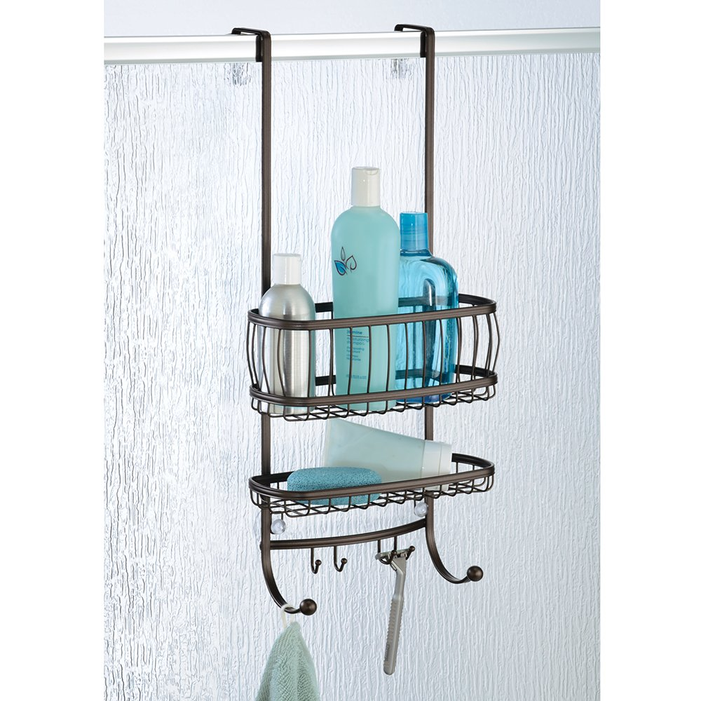 InterDesign York Lyra - Bathroom Over-The-Door Shower Caddy - Bronze - 10 x 8 x 21.75 inches