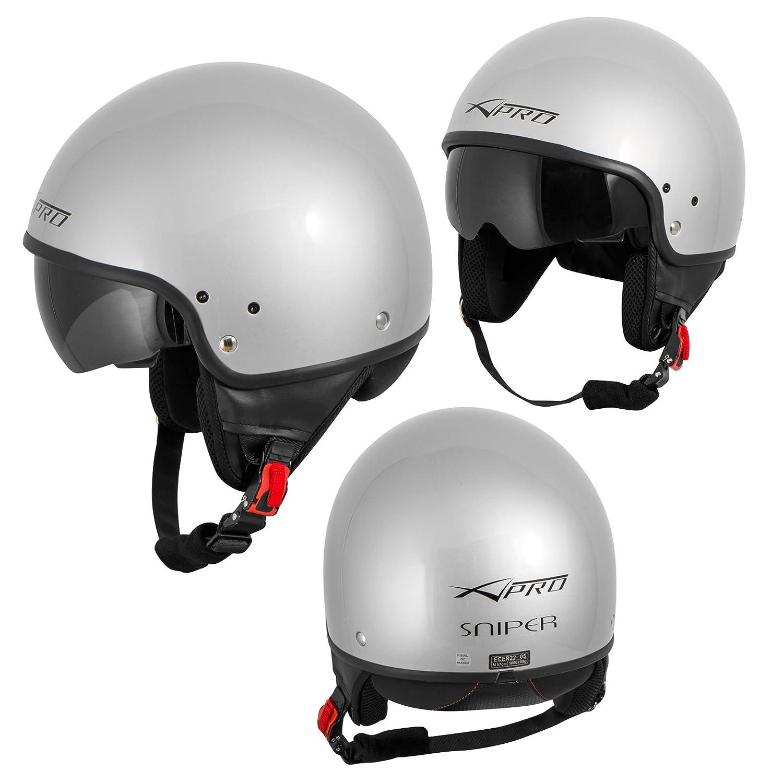 Open Face Jet Helmet Moped Motorbike Scooter Inner sun visor Silver S