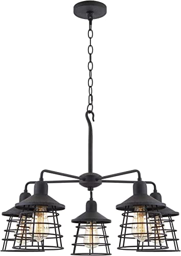 Kira Home Rowan 26 5-Light Vintage Industrial Chandelier, Metal Cage Shades, Textured Black Finish