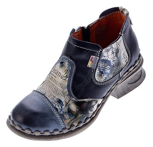 TMA Damen Leder Comfort Knöchel Schuhe 5195 Halb Schuhe Schwarz Grau Blau Weiß Rot Grün Blockabsatz Boots