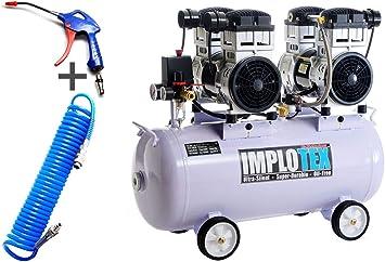 Compresor de aire silencioso, 3000 W, 4 CV, 65 dB, silencioso, sin aceite, incluye pistola de soplado y manguera de aire comprimido Impotex: Amazon.es: Bricolaje y herramientas