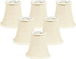 "Royal Designs 6"" Lace Bell Eggshell Chandelier Lamp Shade, Set of 6, 3 x 6 x 5 (CS-842EG-6)"