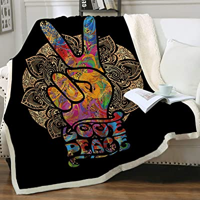 "Sleepwish Peace Sign Sherpa Fleece Blanket Hippie Girl Boy 70s Watercolor Art Plush Throw Blanket Colorful Symbol Retro Bed Blankets, Gold Mandala Victory Sign, Throw(50""x60""): Home & Kitchen"