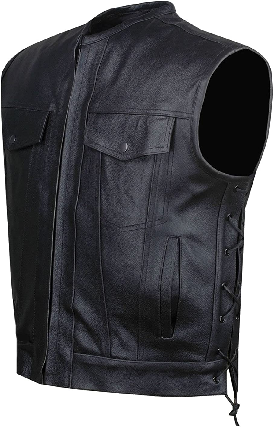 Classyak Mens Fashion Stylish Biker Genuine Leather Vest