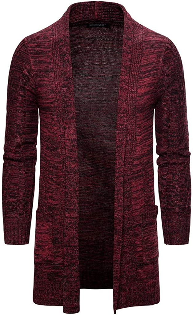 SFE Men Cardigan Sweater with Pockets V-Neck Long Sleeve Ultra Soft Warm Knitted Sweater Autumn and Winter Solid Top
